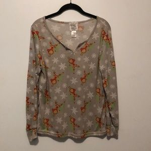 Mentally Exhausted Knit Holiday Reindeer Top Grey